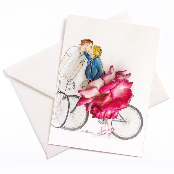 Paar mit Fahrrad und Rose Lütteblüten Sonntagsmädchen