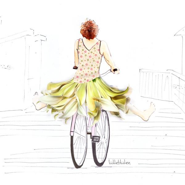 Lütteblüten der Sonne entgegen Fahrrad fahren