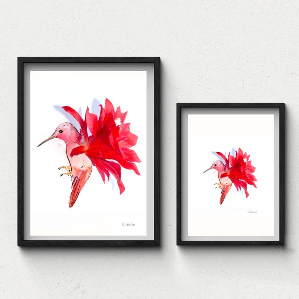 Lütteblüten Kolibri Kaktusblüte Wandbild Gabriele Ampt