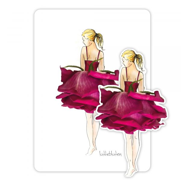 Lütteblüten Rose Magnet & Karte
