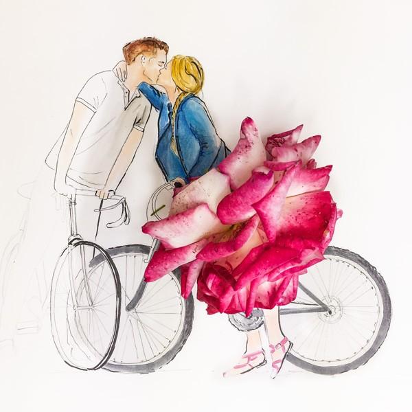 Paar mit Fahrrad und Rose