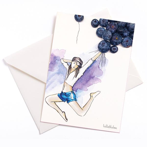 Lütteblüten Luftballon Blaubeere Anlasskarte handmade